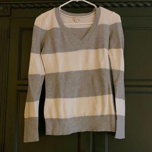 Gap Gray & White Stripe Sweater